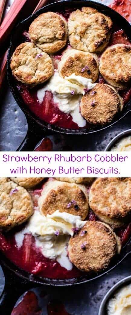 Strawberry Rhubarb Cobbler with Honey Butter Biscuits | halfbakedharvest.com @hbharvest