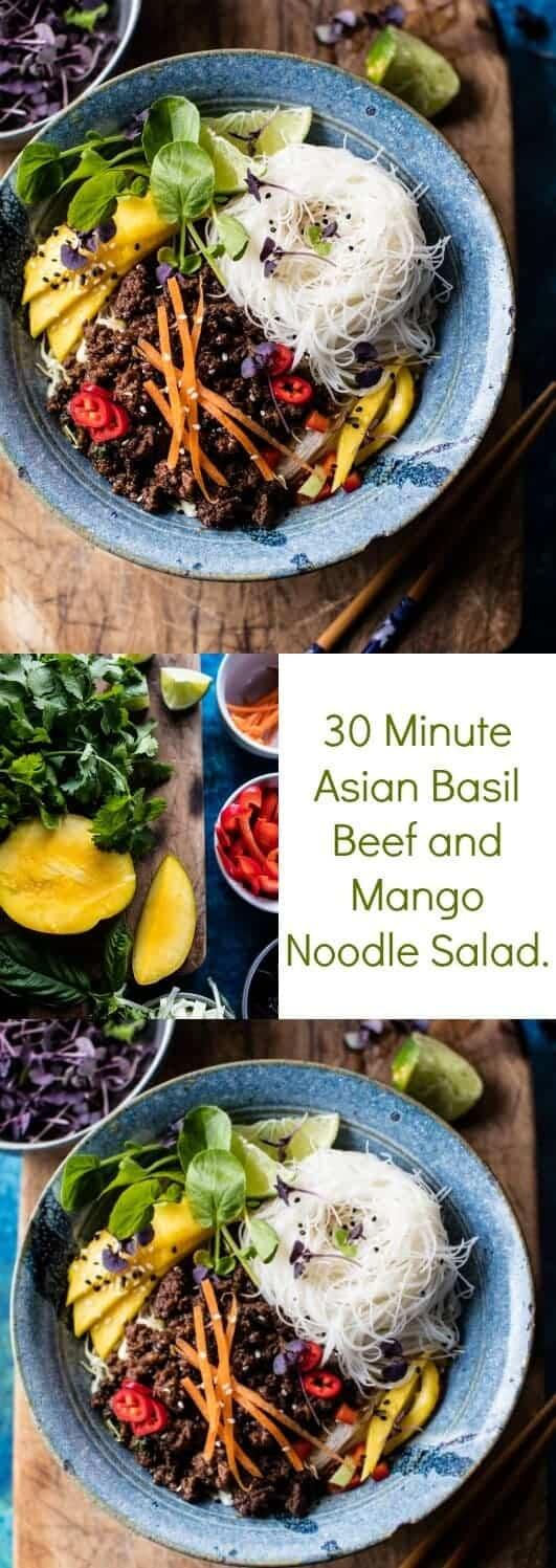 30 Minute Asian Basil Beef and Mango Noodle Salad | halfbakedharvest.com @hbharvest