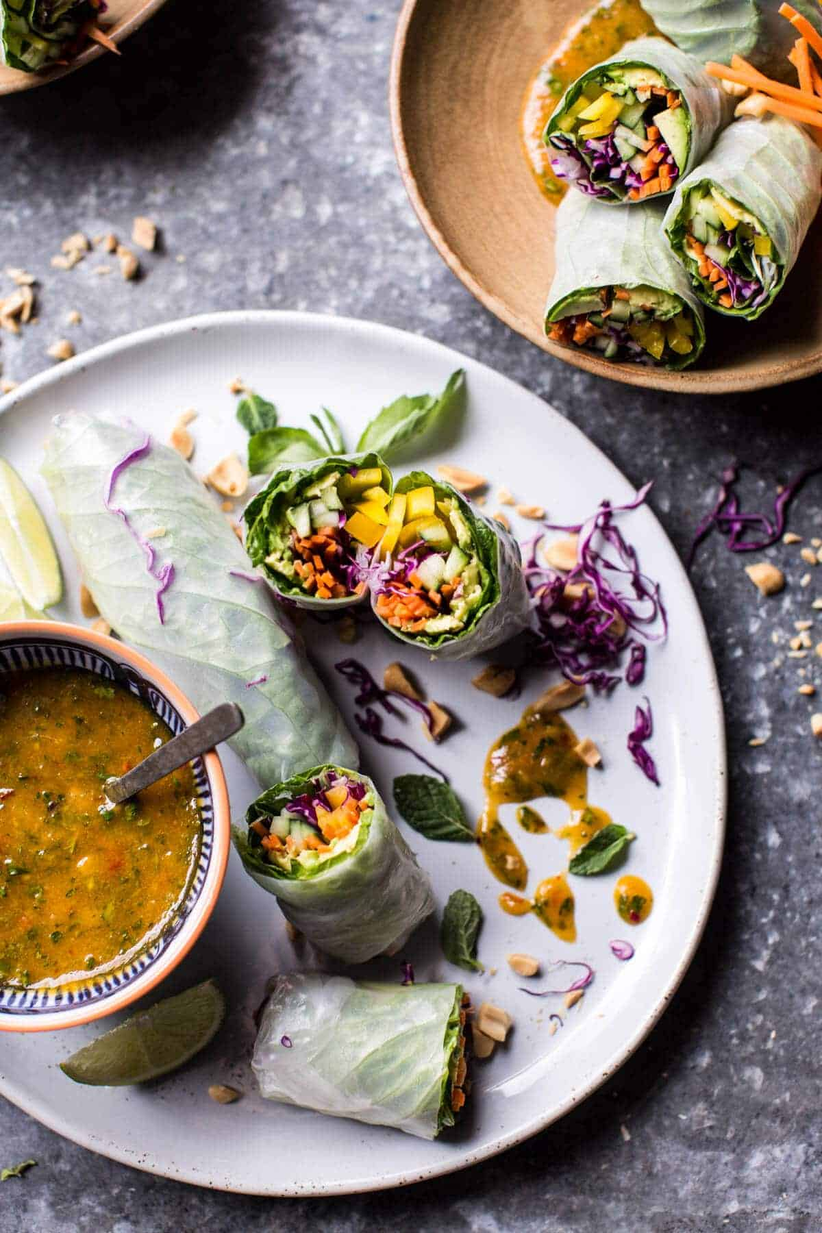 Avocado Veggie Spring Rolls with Sweet Thai Mango Sauce.