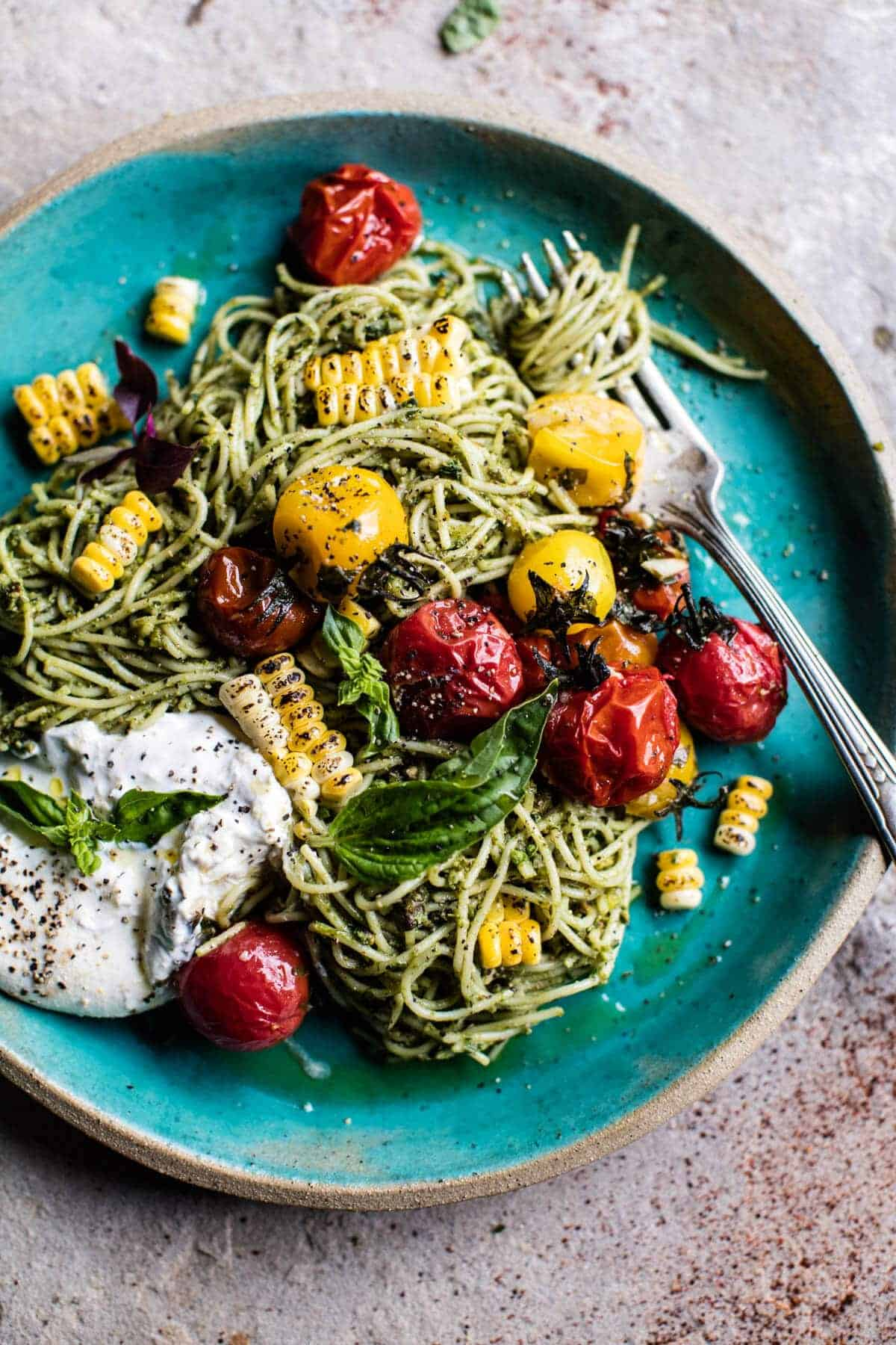 Charred Tomato and Corn Pesto Pasta | halfbakedharvest.com @hbharvest