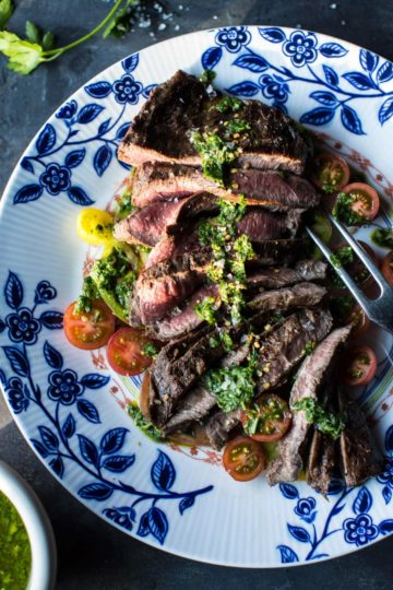 Grilled Skirt Steak with Chimichurri.