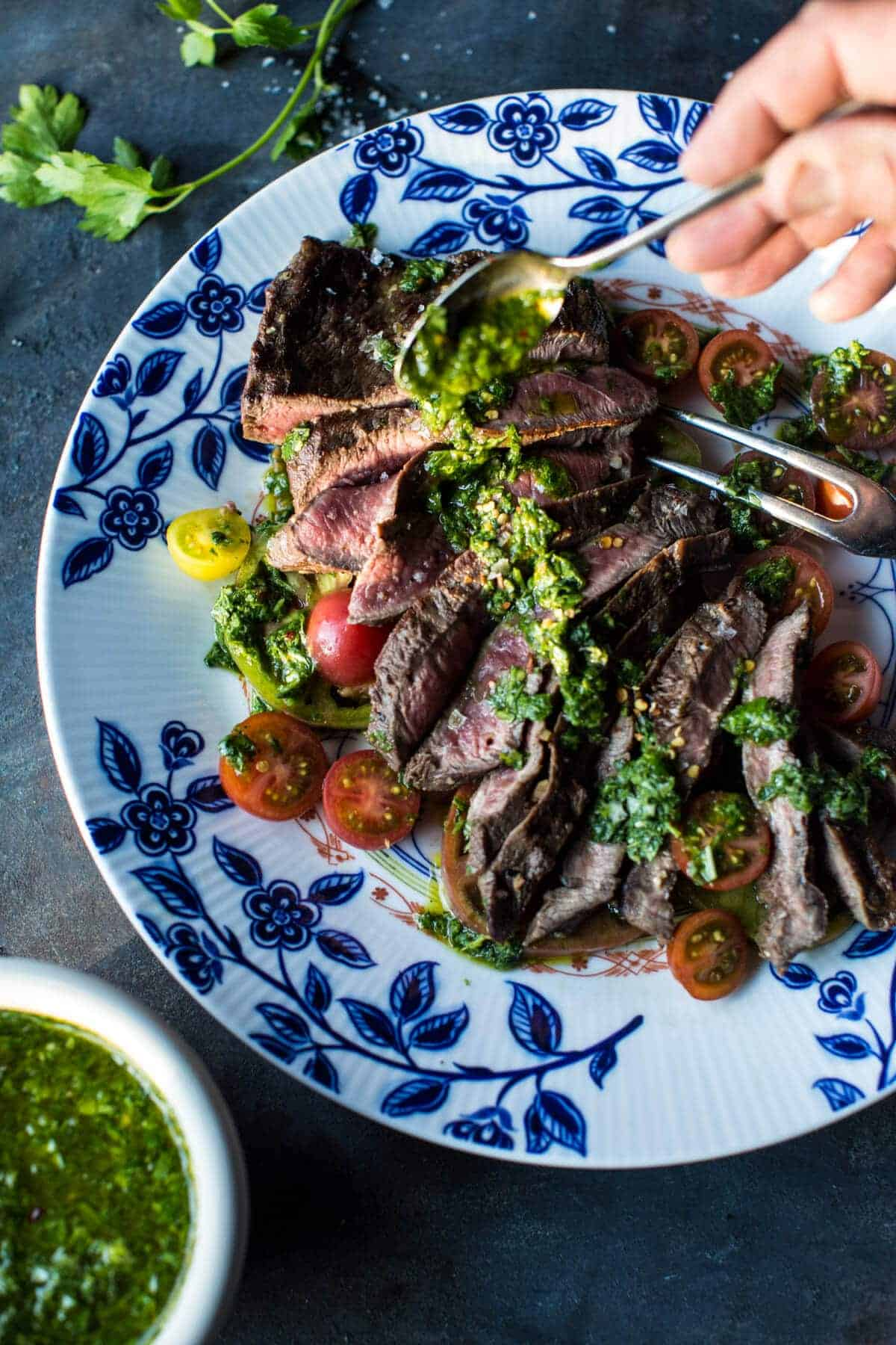 Grilled Skirt Steak with Chimichurri | halfbakedharvest.com @hbharvest
