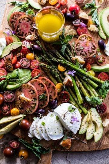 Panzanella Style Caprese Asparagus Salad.