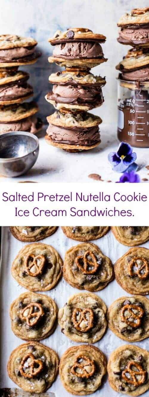 Salted Pretzel Nutella Cookie Ice Cream Sandwiches | halfbakedharvest.com @hbharvest