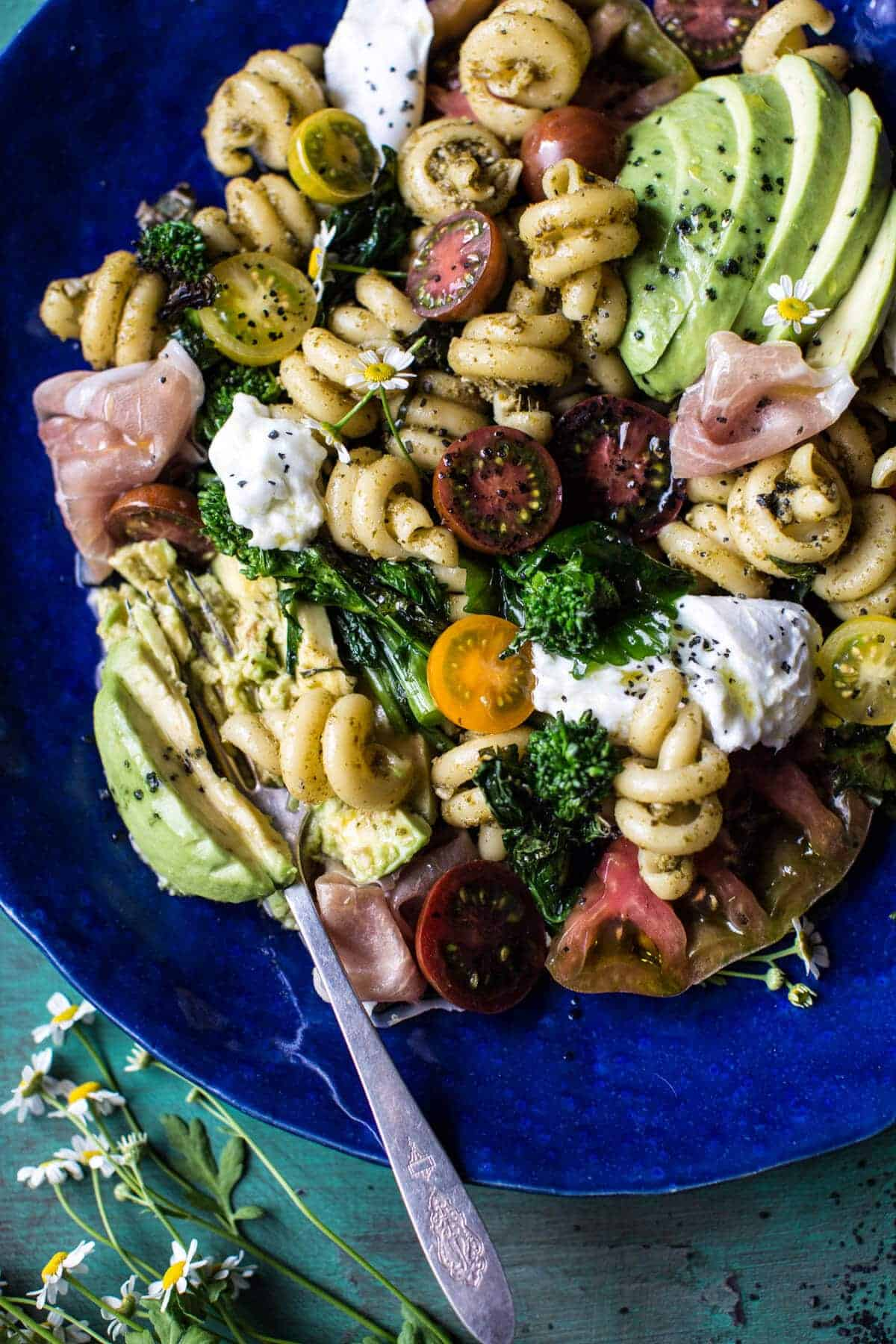 Avocado Caprese Pasta with Grilled Broccoli Rabe | halfbakedharvest.com @hbharvest