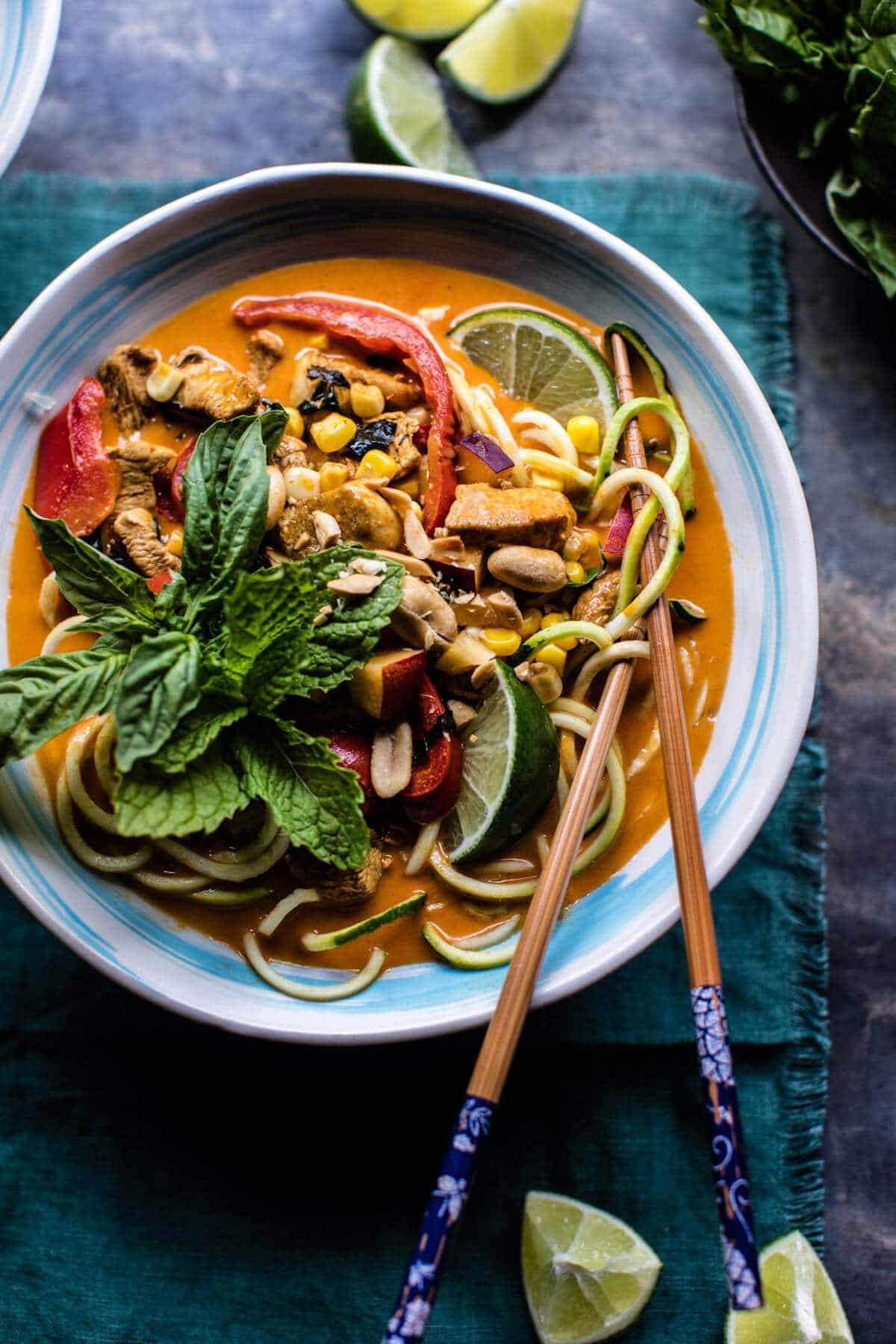 Basil Chicken Curry Zucchini Noodle Bowls   halfbakedharvest.com @hbharvest