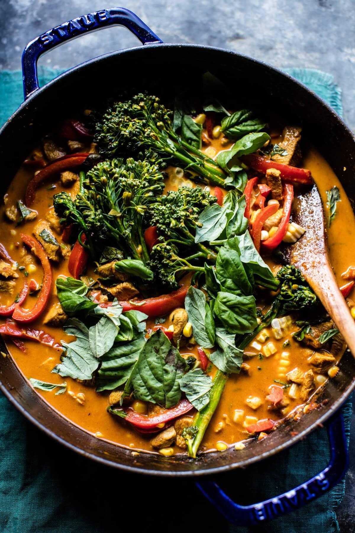 Basil Chicken Curry Zucchini Noodle Bowls | halfbakedharvest.com @hbharvest