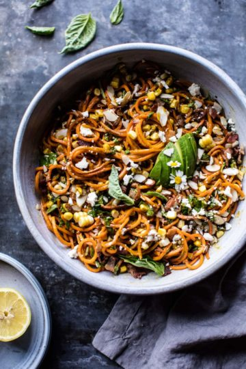 Corn, Feta and Basil Sweet Potato Noodle Carbonara.