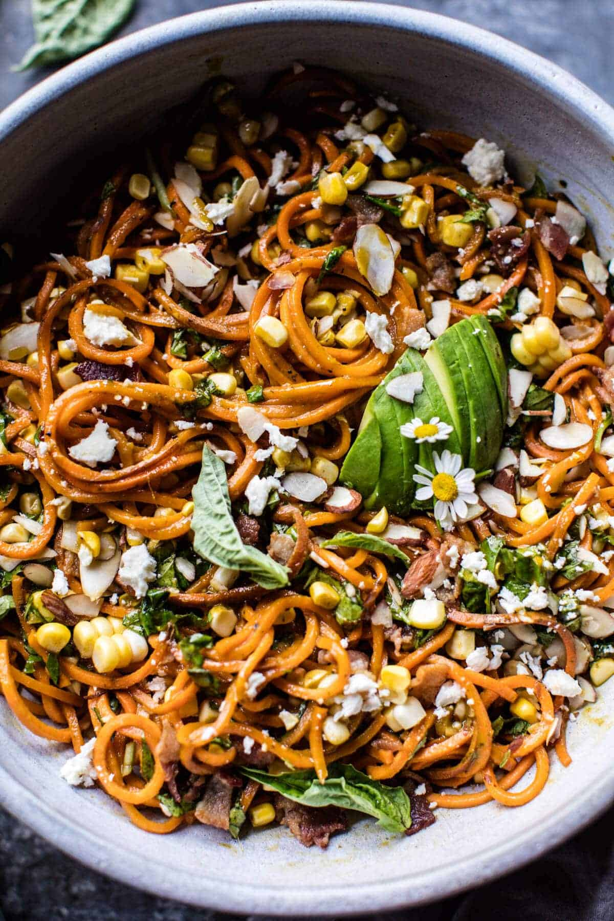 Corn, Feta and Basil Sweet Potato Noodle Carbonara | halfbakedharvest.com @hbharvest