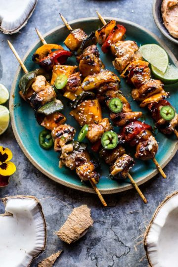 Hawaiian BBQ Skewers with Sriracha Lime Butter.