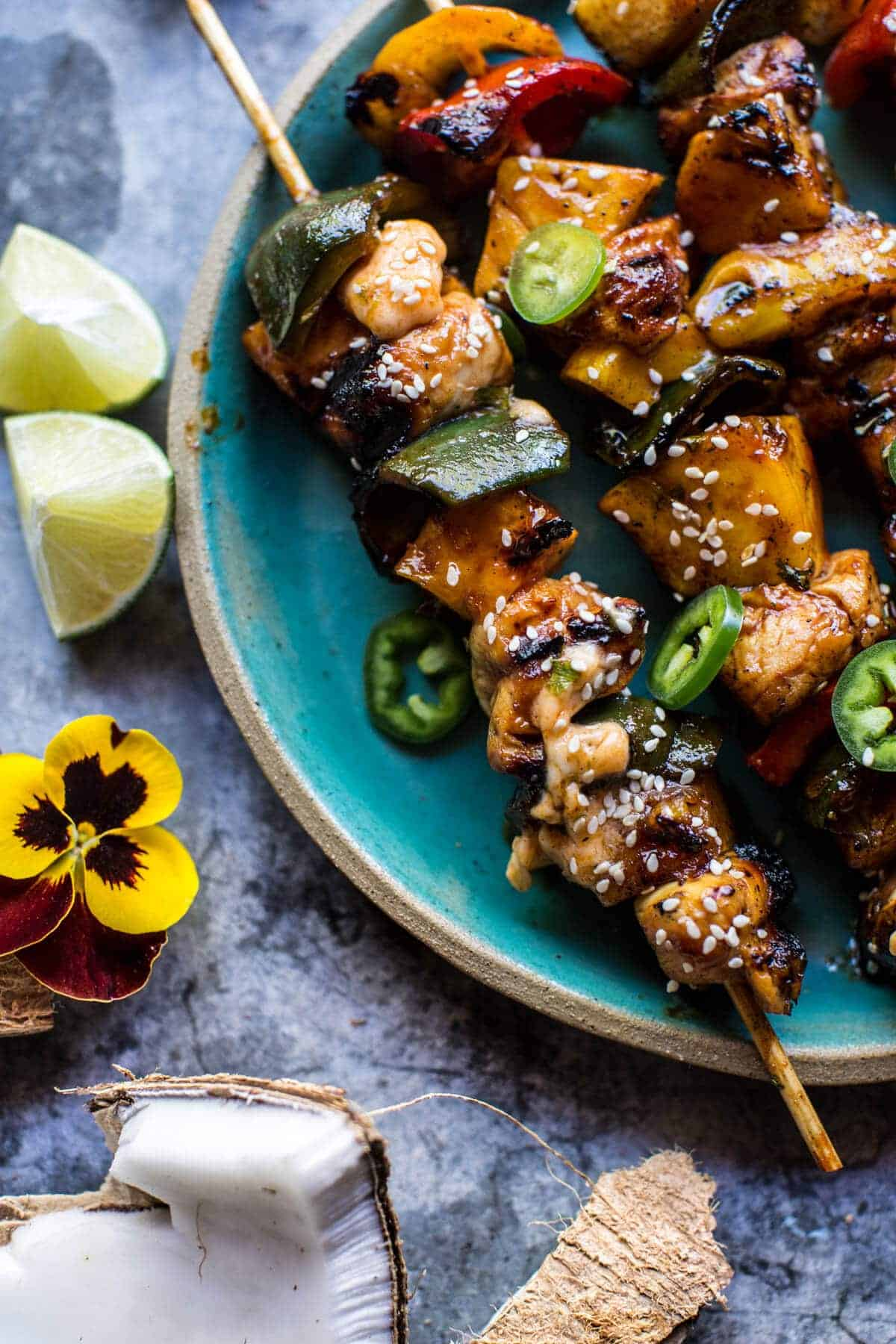 Hawaiian BBQ Skewers with Sriracha Lime Butter | halfbakedharvest.com @hbharvest