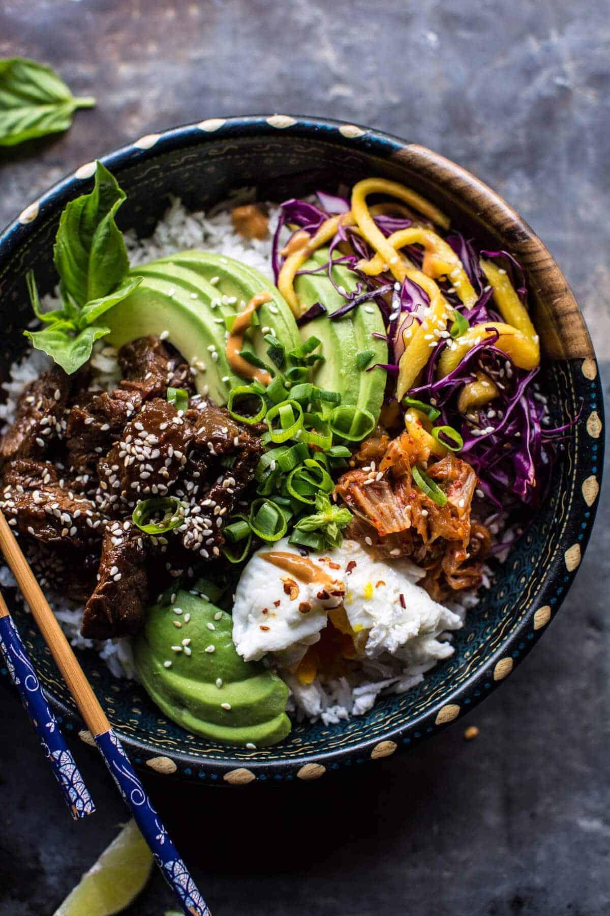 Korean Bulgogi BBQ Steak Bowls | halfbakedharvest.com @hbharvest