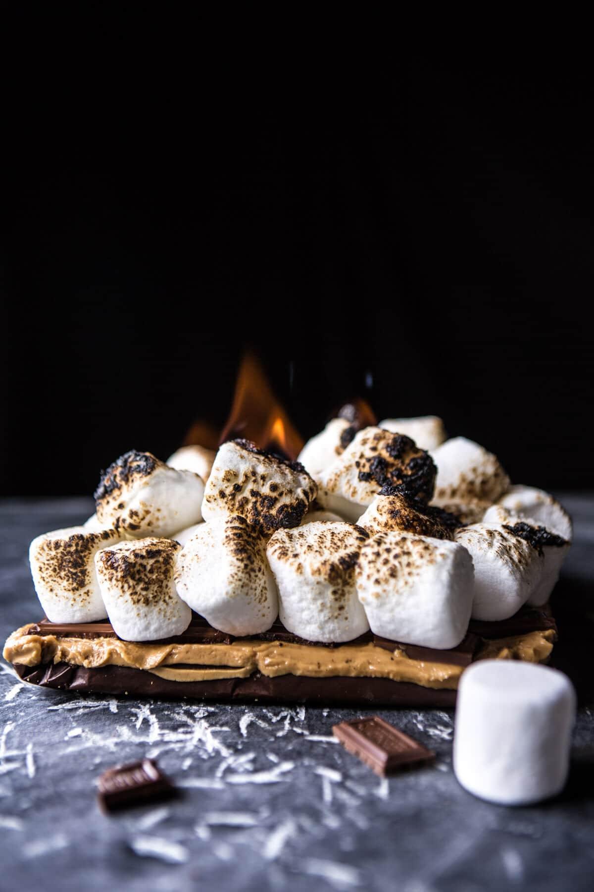 No-Bake Triple Decker Peanut Butter S'mores Bars | halfbakedharvest.com @hbharvest