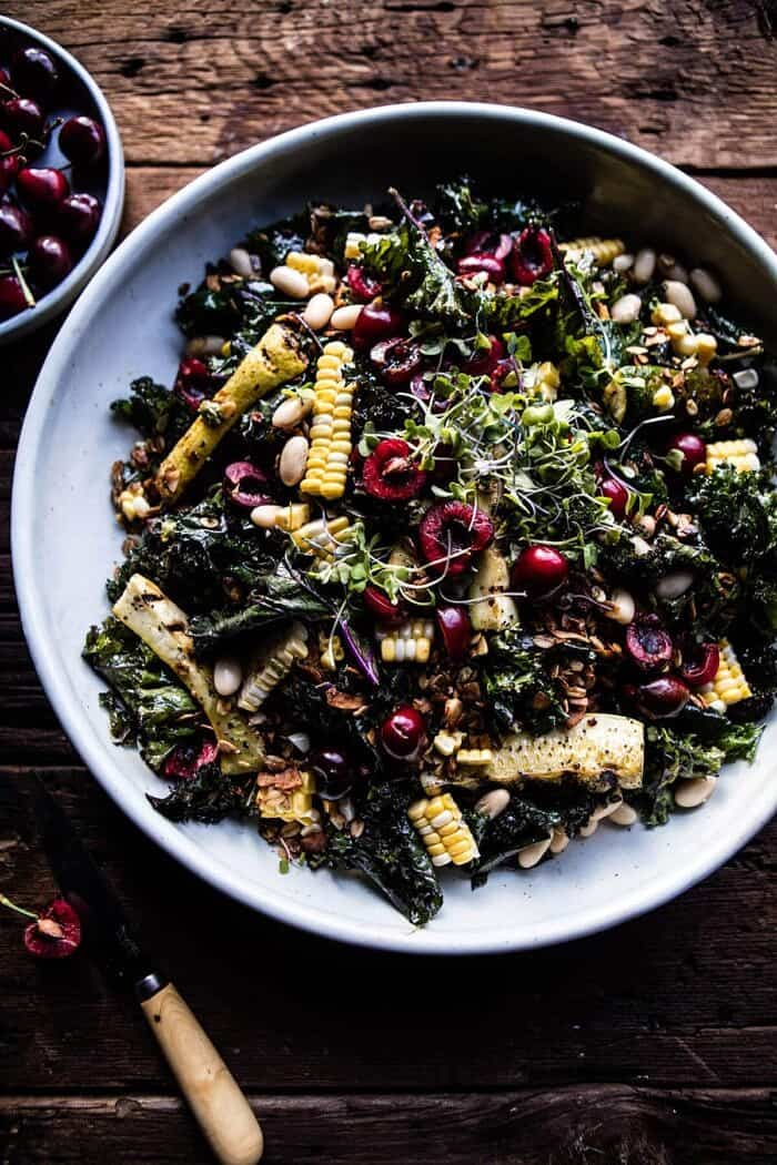 Sunflower Seed, Kale and Cherry Salad with Savory Granola | halfbakedharvest.com @hbharvest