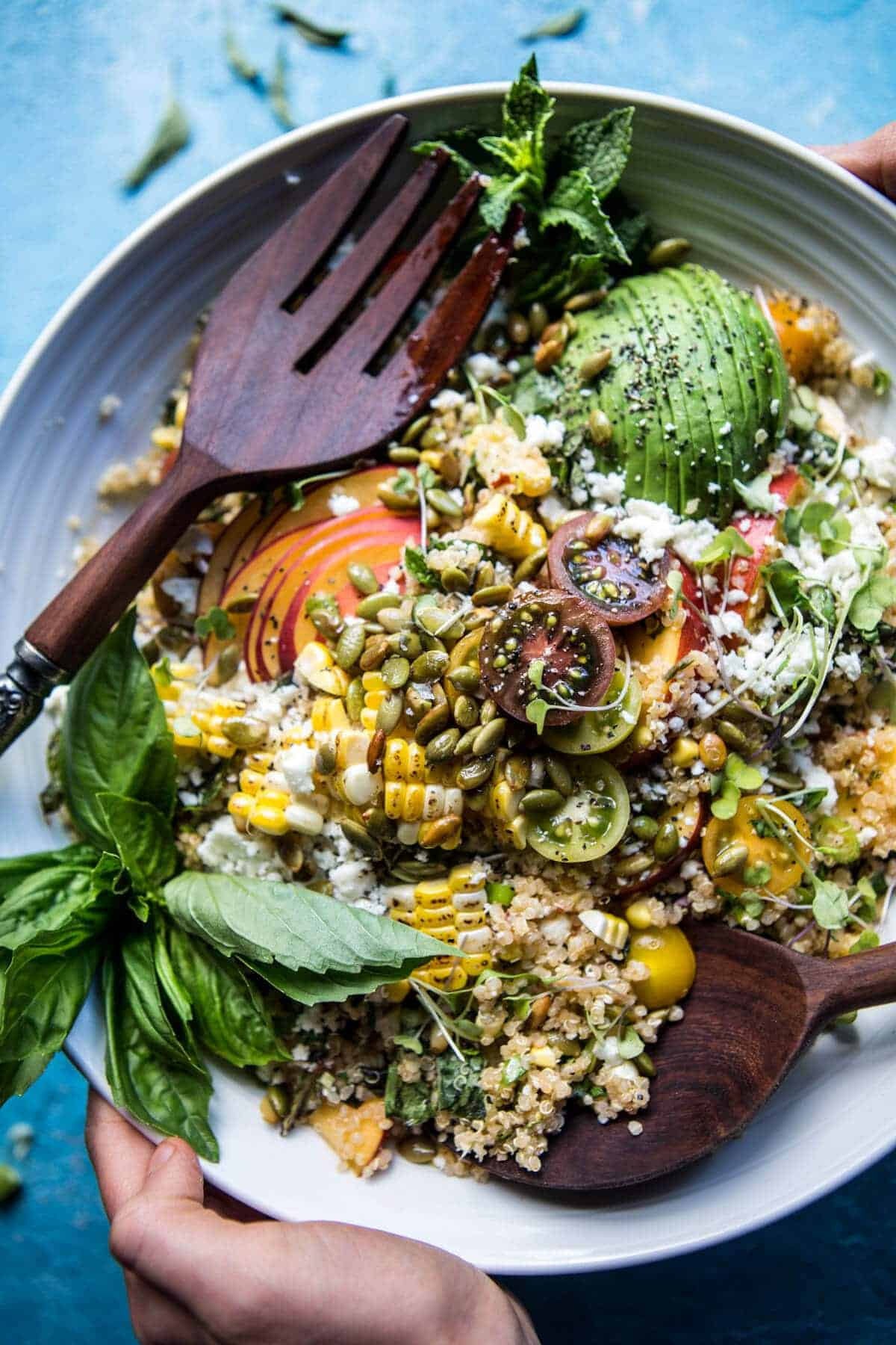 Thai Grilled Corn and Peach Quinoa Salad | halfbakedharvest.com @ ...