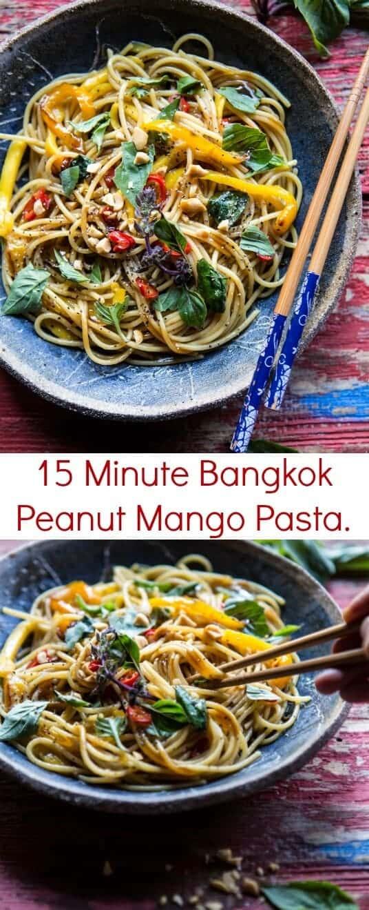 15 Minute Bangkok Peanut Mango Pasta | halfbakedharvest.com @hbharvest