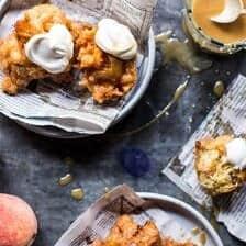 Bourbon Glazed Peach Fritters.