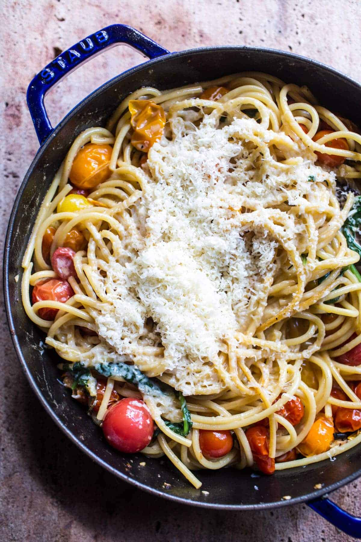 Charred Tomato Basil Chicken Florentine Pasta with Herb Butter ...