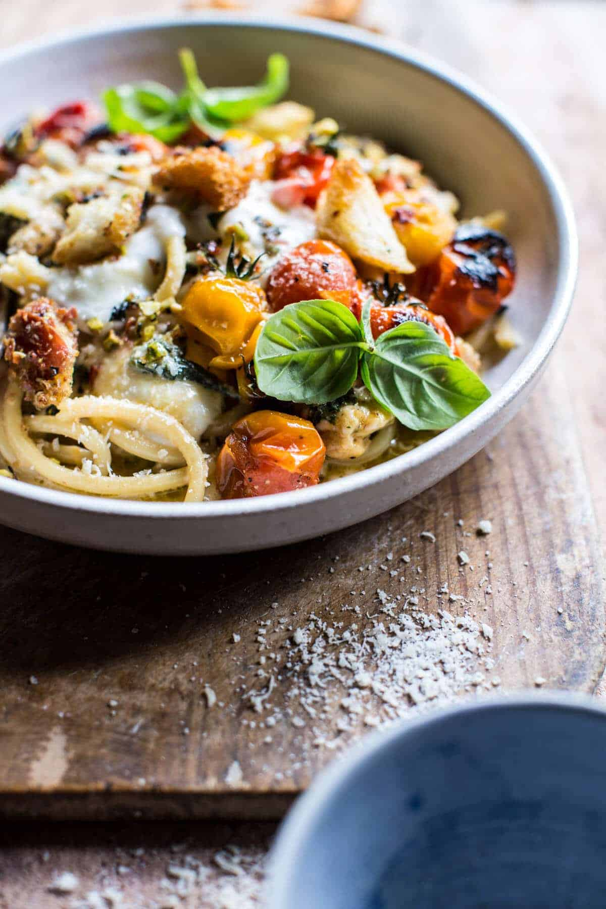 Charred Tomato Basil Chicken Florentine Pasta with Herb Butter Breadcrumbs | halfbakedharvest.com @hbharvest