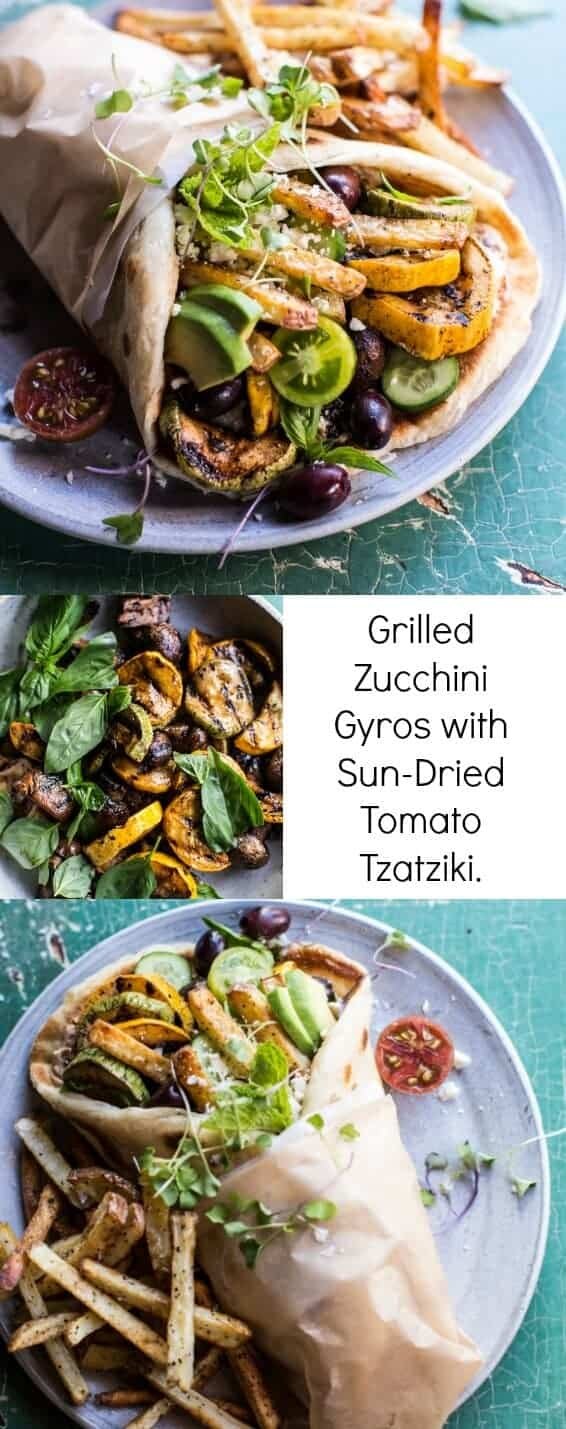 Grilled Zucchini Gyros with Sun-Dried Tomato Tzatziki | halfbakedharvest.com @hbharvest