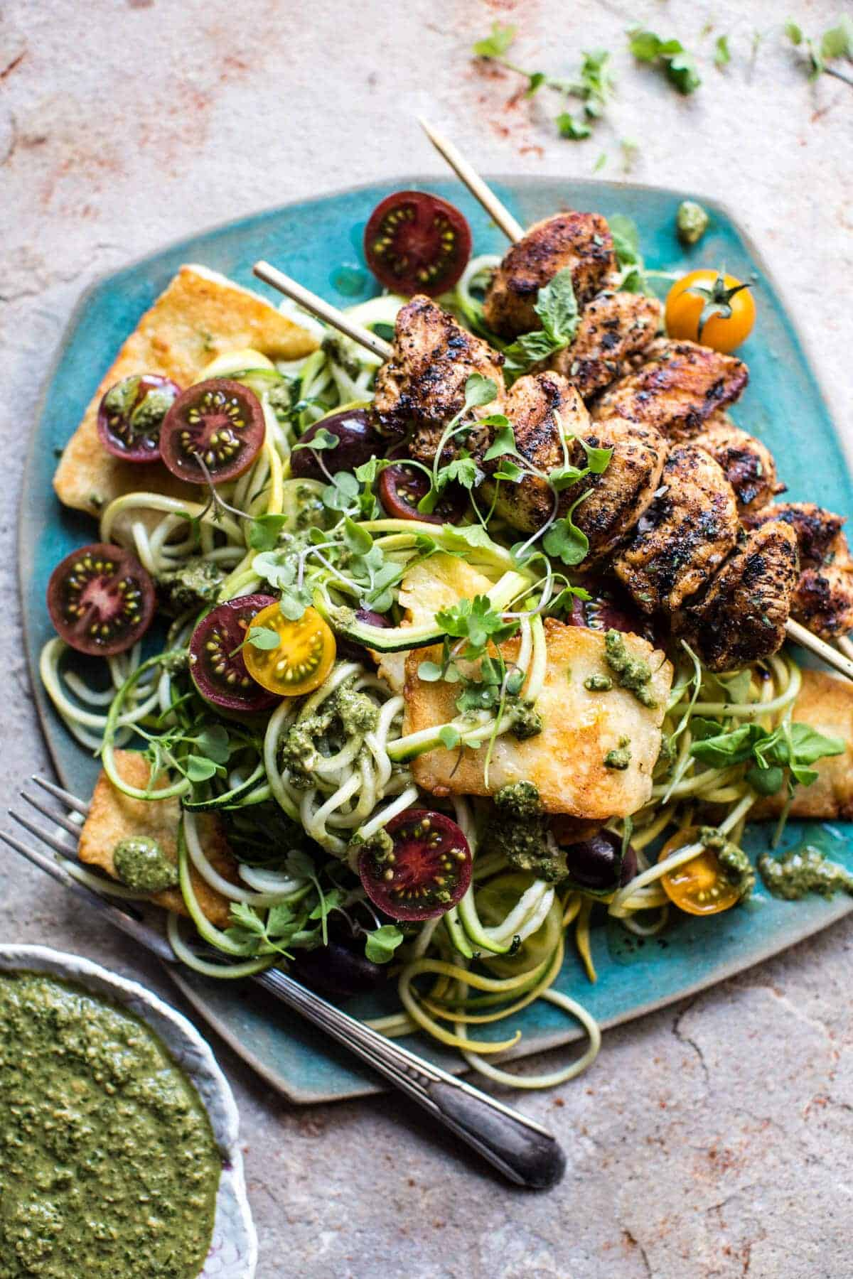 Mediterranean Chicken and Summer Squash Noodles with Fried Halloumi.