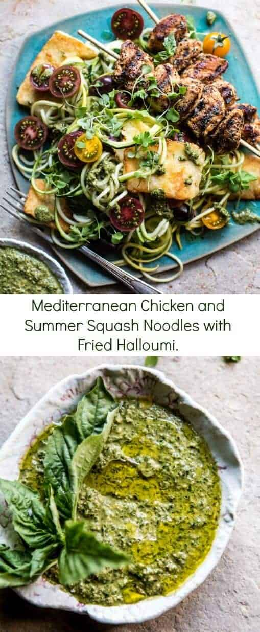 Mediterranean Chicken and Summer Squash Noodles with Fried Halloumi | halfbakedharvest.com @hbharvest