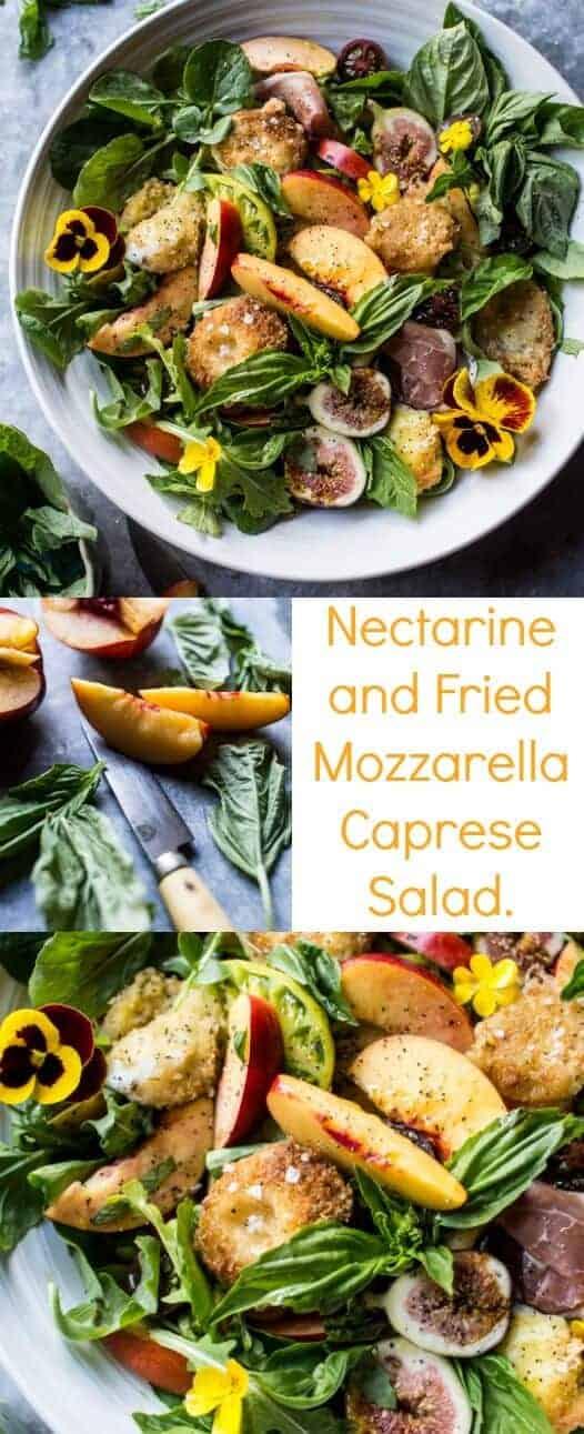 Nectarine and Fried Mozzarella Caprese Salad | halfbakedharvest.com @hbharvest