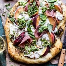 Peach Burrata Pizza with Honey Balsamic.