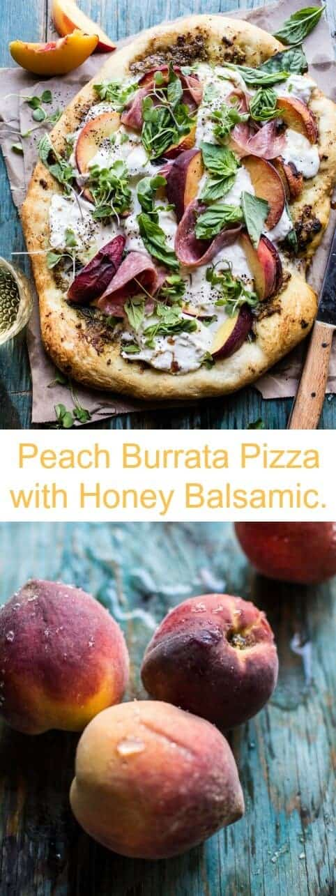 Peach Burrata Pizza with Honey Balsamic | halfbakedharvest.com @hbharvest