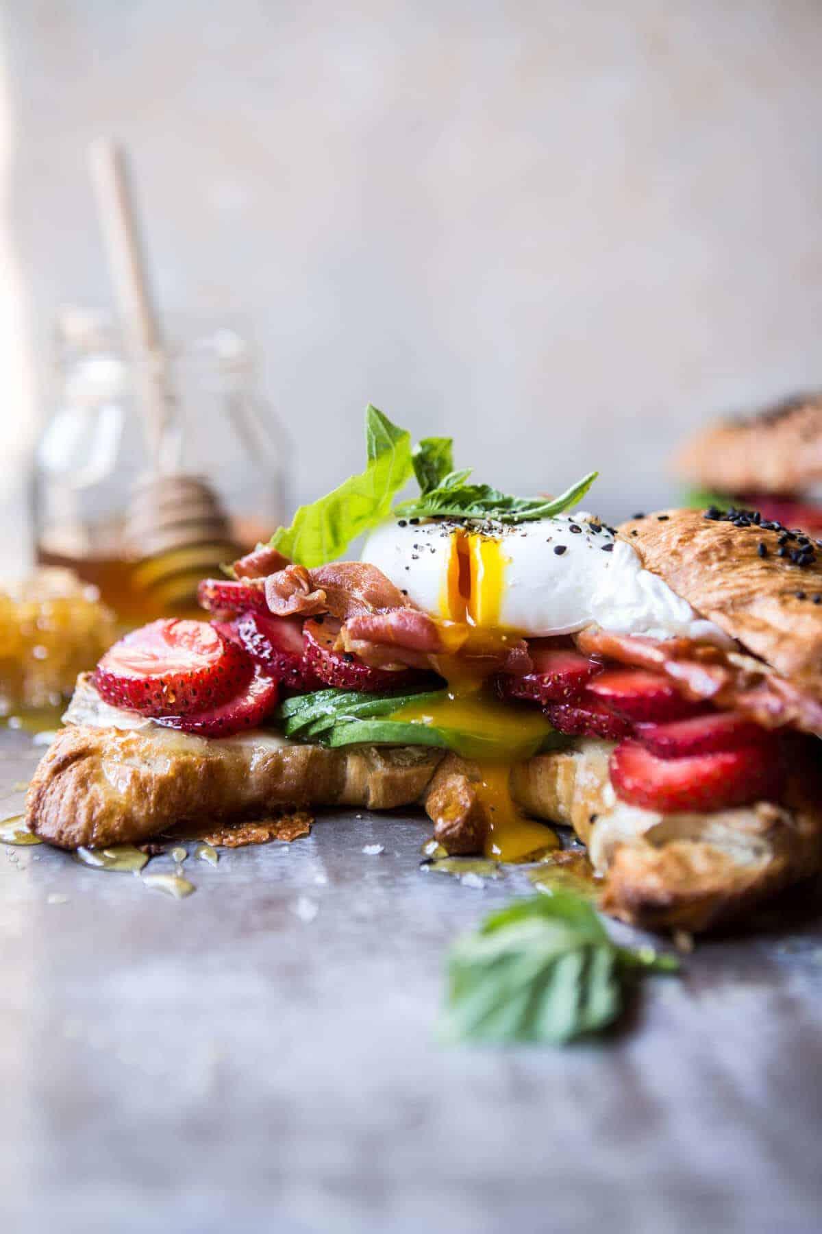 Strawberry, Basil and Crispy Prosciutto Breakfast Sandwich.
