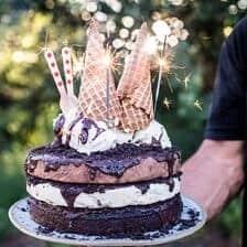 Triple Layer Chocolate Fudge Ice Cream Cake.