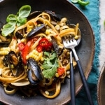 Basil Coconut Curry Pasta with Clams, Mussels and Corn | halfbakedharvest.com @hbharvest
