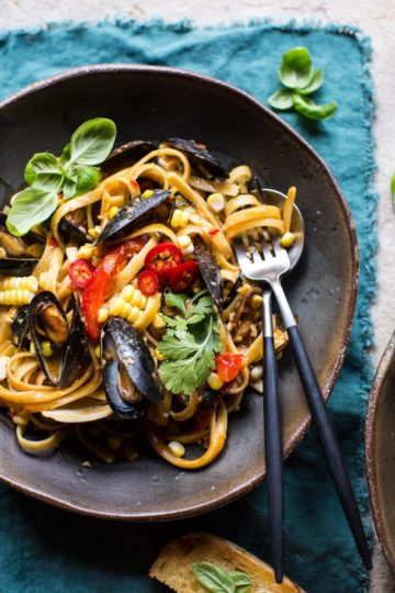 Basil Coconut Curry Pasta with Clams, Mussels and Corn.