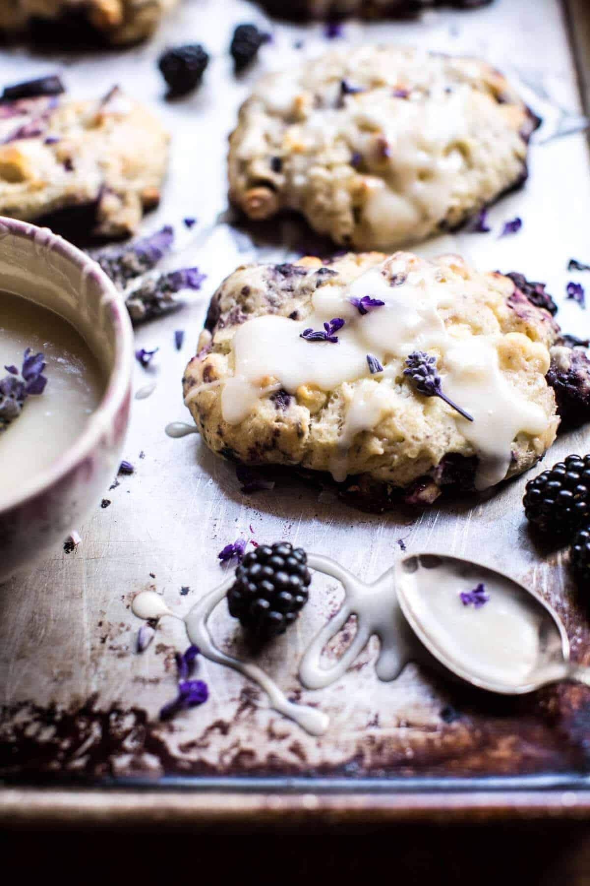 Blackberry Lavender White Chocolate Scones | halfbakedharvest.com @hbharvest