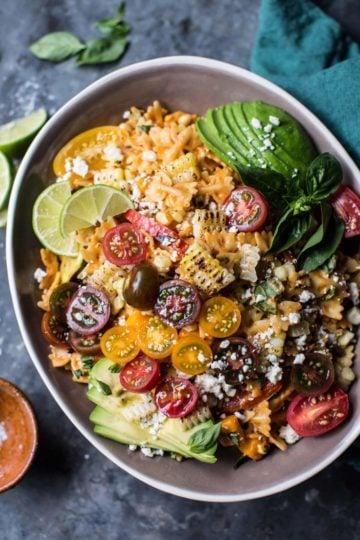 Charred Corn and Zucchini Enchilada Pasta Salad.