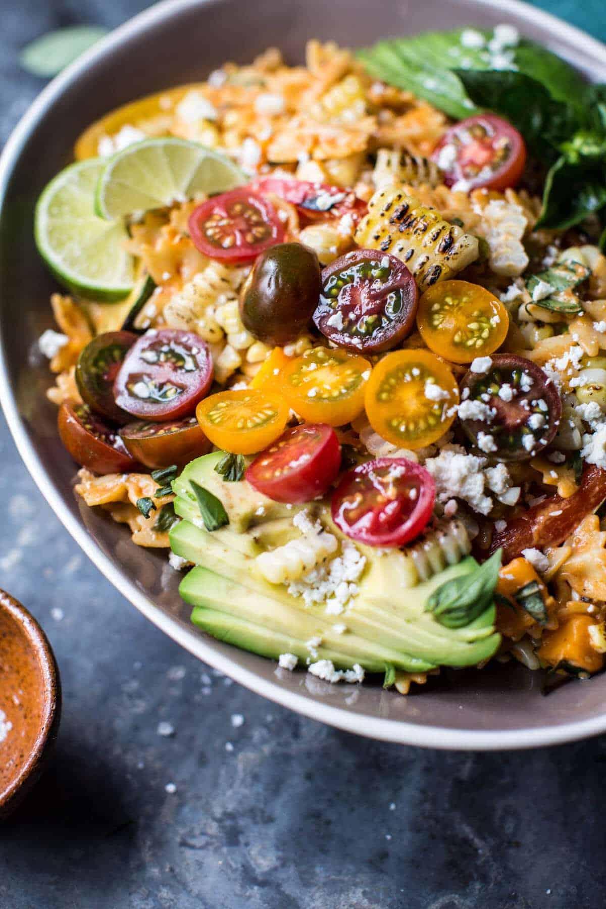 Charred Corn and Zucchini Enchilada Pasta Salad | halfbakedharvest.com @hbharvest