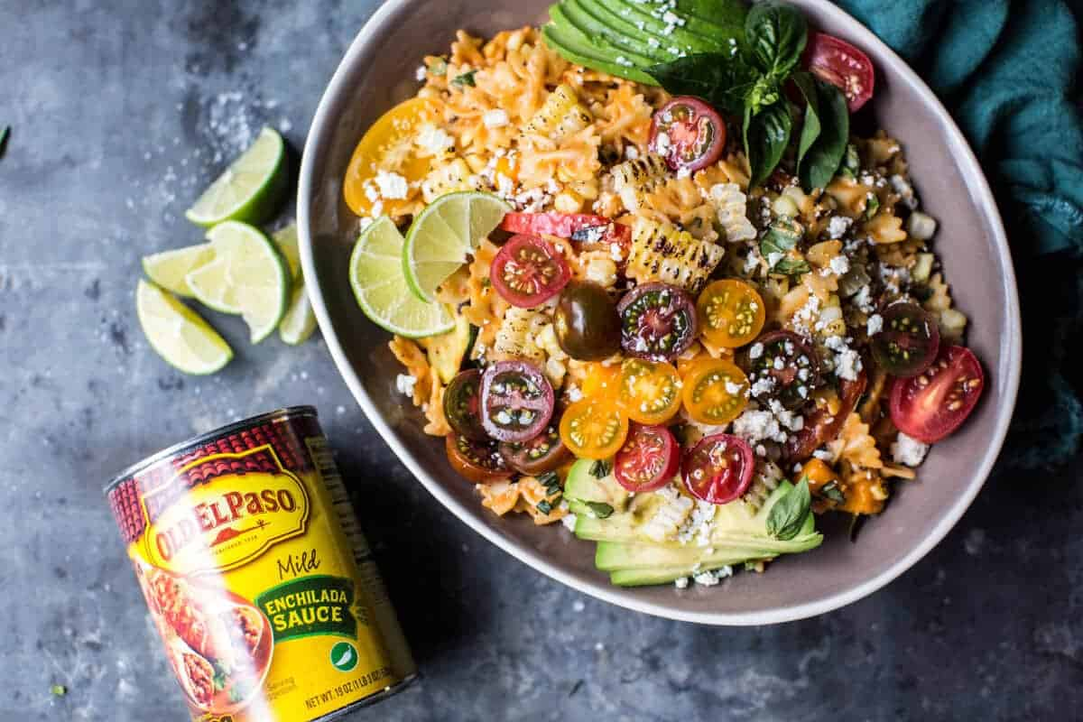 Charred Corn and Zucchini Enchilada Pasta Salad. - Half ...