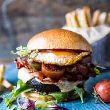 Cheddar Bacon Portobello Mushroom Burger.