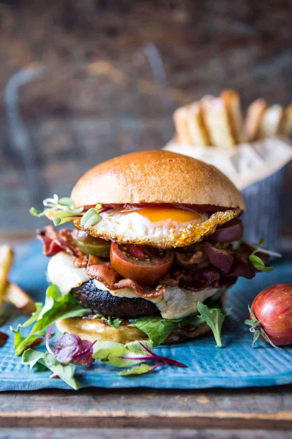 Cheddar Bacon Portobello Mushroom Burger Half Baked Harvest