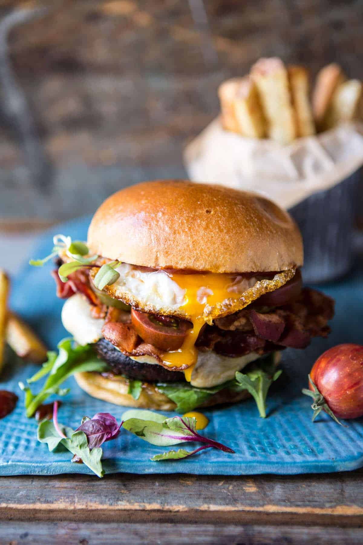 Cheddar Bacon Portobello Mushroom Burger | halfbakedharvest.com @hbharvest