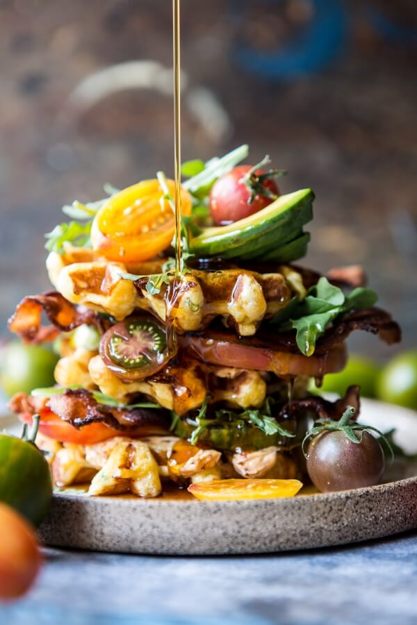 Cheddar Cornbread Waffle BLT with Chipotle Butter.