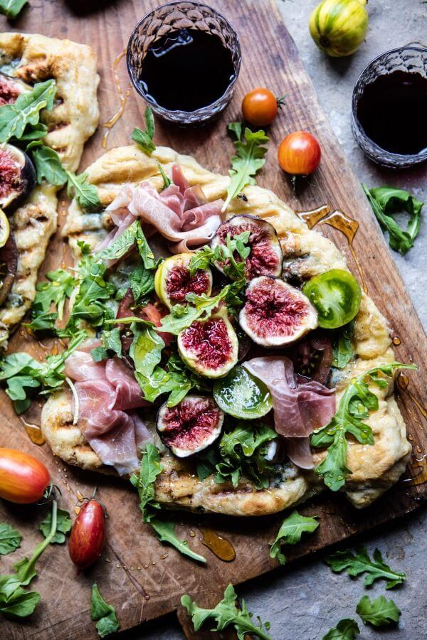 Grilled Tomato, Fig and Prosciutto Pizza.