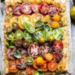 Heirloom Tomato Cheddar Tart with Everything Spice.