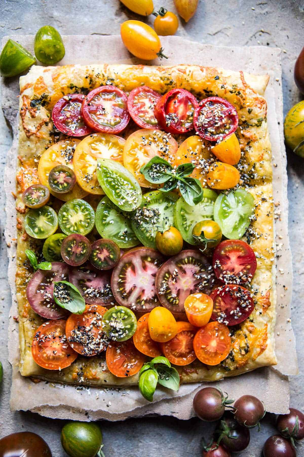 Heirloom Tomato Cheddar Tart with Everything Spice | halfbakedharvest ...