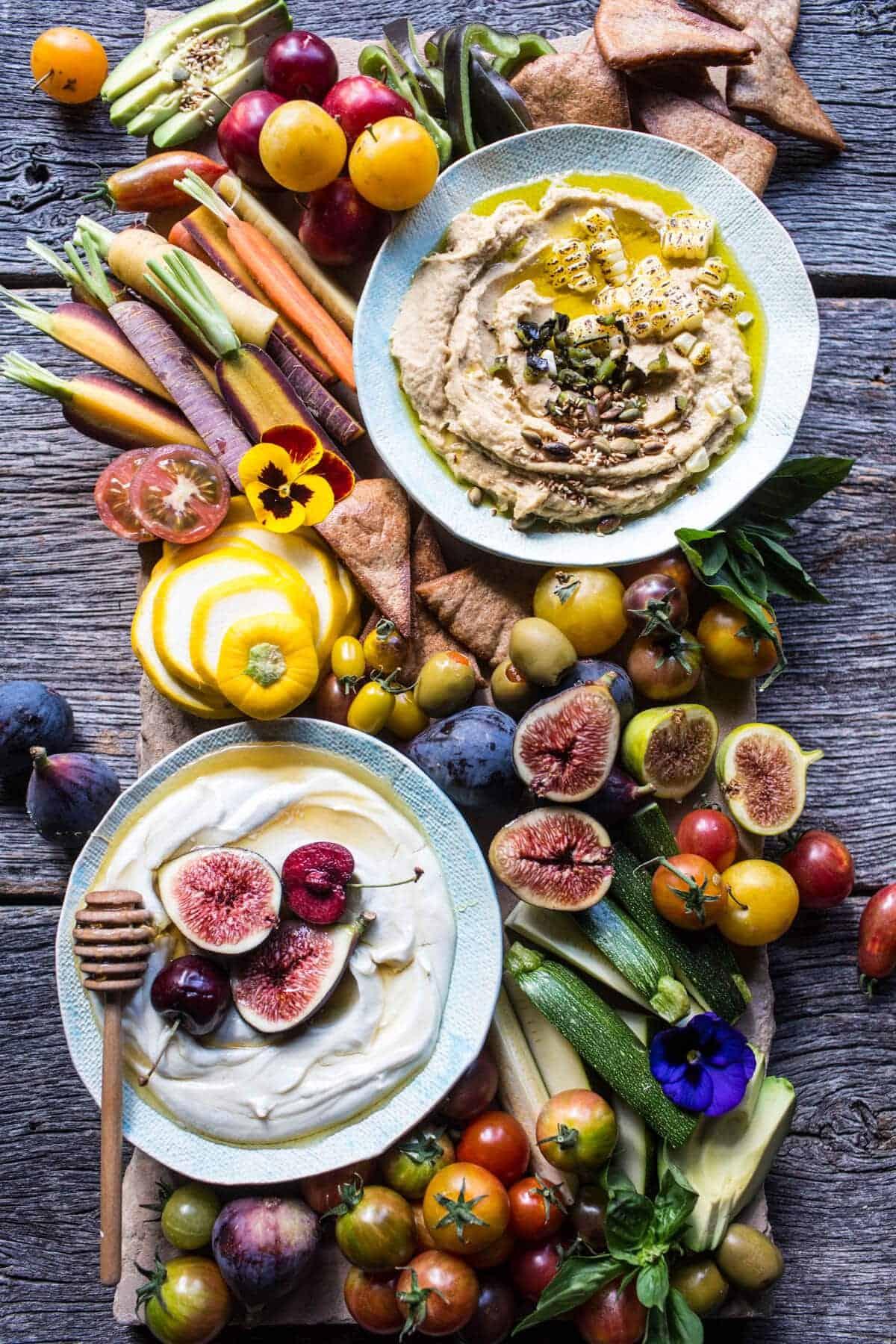 Market Veggie Board with Roasted Corn Jalapeno Hummus + Honey Whipped Goat Cheese | halfbakedharvest.com @hbharvest