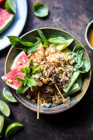Thai Peanut Chicken Noodles with Charred Corn + Lime Watermelon.