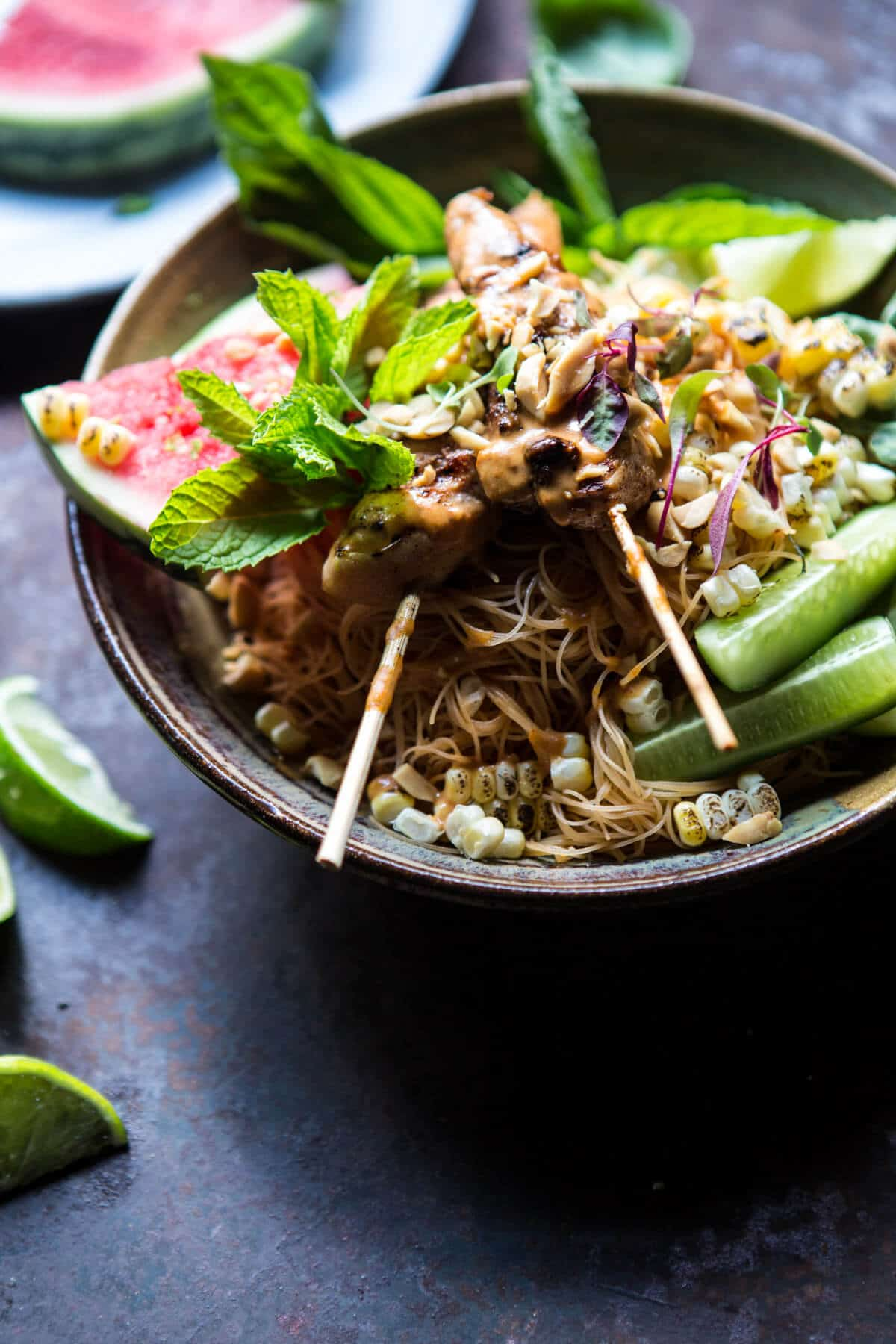 Thai Peanut Chicken Noodles with Charred Corn + Lime Watermelon ...