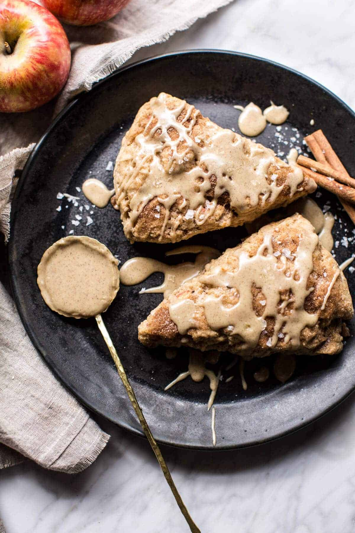 Brown Butter Maple Glazed Cinnamon Apple Scones.
