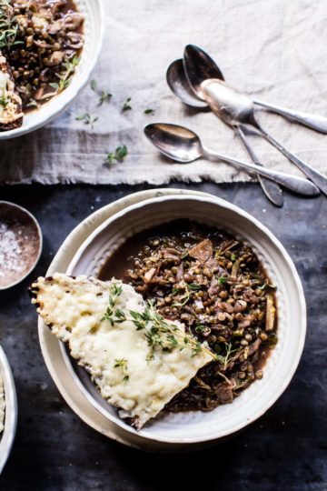 Caramelized Onion French Lentils and Cheesy Toast.