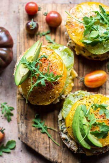 Cheesy Avocado Bagel Tuna Melts.